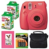 Fujifilm Instax mini 8 Instant Film Camera (Raspberry) + Selfie Photo Album + Instax Mini Twin Pack (40 shots) + Camera Case + AA 4 Batteries + Accessory Bundle - International Version (No Warranty)