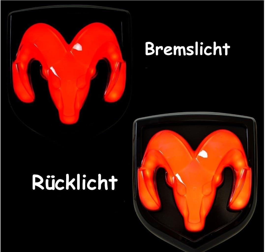 chrom LED Anh/ängerkupplung Einschub beleuchtet Emblem Ram Head