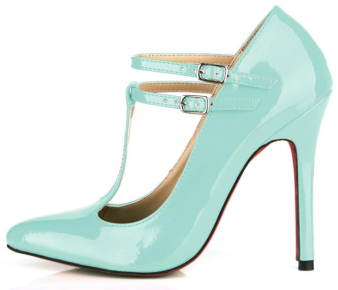 Light Cyan Pearl Chaussures femmes le tempérament et le printemps nouveau rouge, noir cuir vernis des boîtes de chaussures les chaussures de talon haut US8   EU39   UK6   CN39