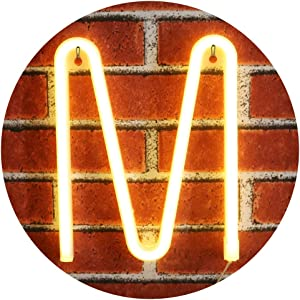 Light Up LED Neon Letters Sign Wall Decorative Neon Lights Warm White Alphabet Marquee Letter Lights For Birthday Wedding Party Decor - M