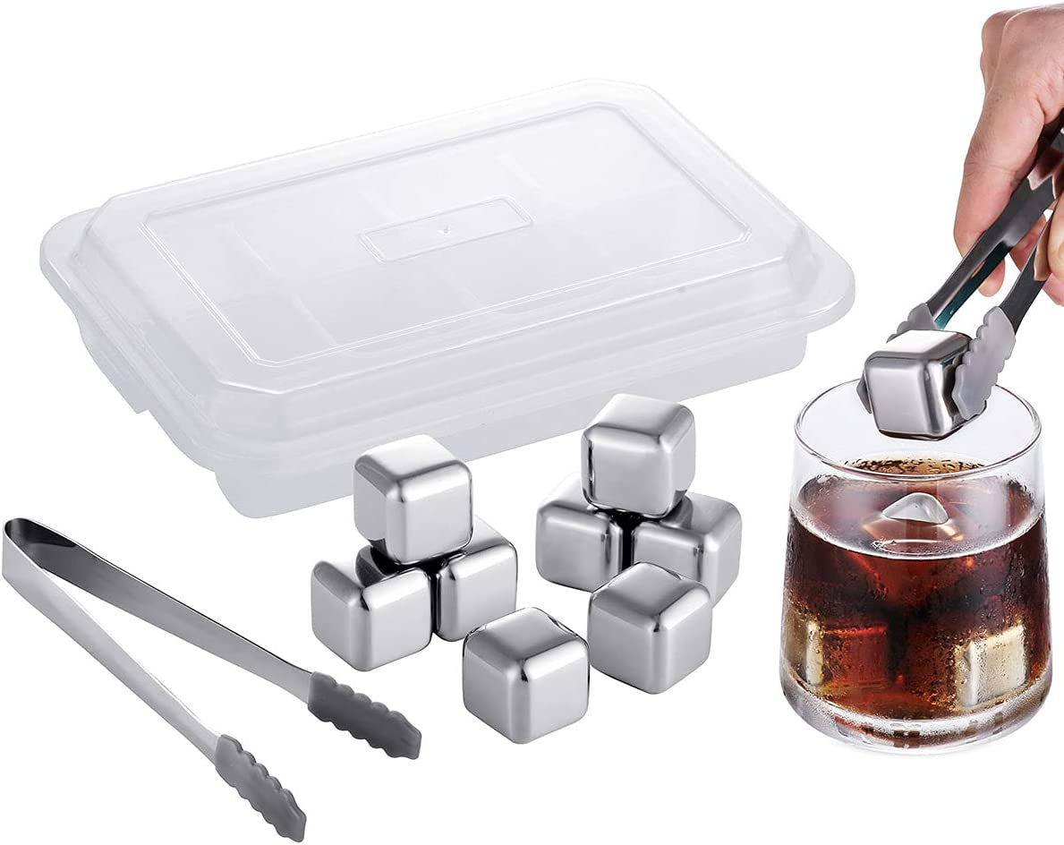 Whiskey Stones Reusable Ice Cubes Stainless Steel 8 Pack Whiskey Chilling Stones Metal Wine Chillers Whiskey Ice Trays, Gifts with Silicone Tongs - Fast Cooler for Drink, Wine, Beers, Beverages