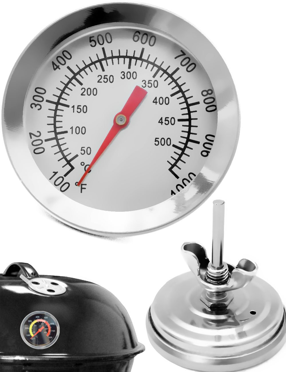 Home Tools. EU–Temperature Resistant Analogue Barbecue BBQ Food Probe for Retrofitting for cookers Roasters Smoker | 10°C to 500°C display 5cm Diameter with Screw Fastening Diameter 8mm Bore HomeTools.eu