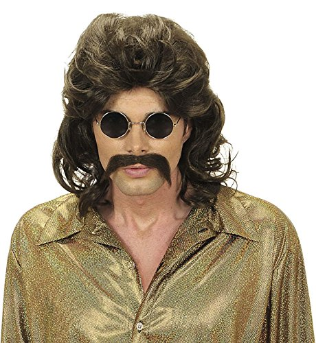 Mens 70s Man & Moustache - Brown Wig For Hair Accessory Fancy -