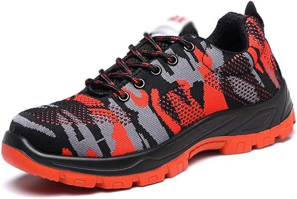 Zapatillas de Seguridad de puntura a Prueba de Golpes Zapatos de Seguridad para Escalar Zapatos de Camuflaje Tejidos Volando .Zapatos de Moda (Color : Red, Size : 42): Amazon.es: Zapatos y complementos