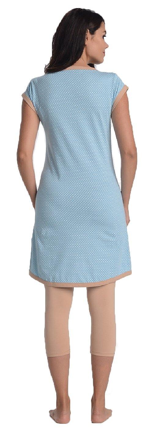Di Vadini Elena - Pijama de lactancia, de algodón 100%, de Manga Corta: Amazon.es: Ropa y accesorios