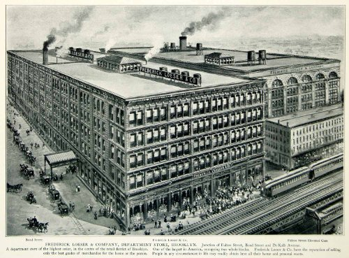 1903 Print Frederick Loeser Brooklyn Fulton Historic New York Train Street View - Original Halftone - Stores Fulton Brooklyn