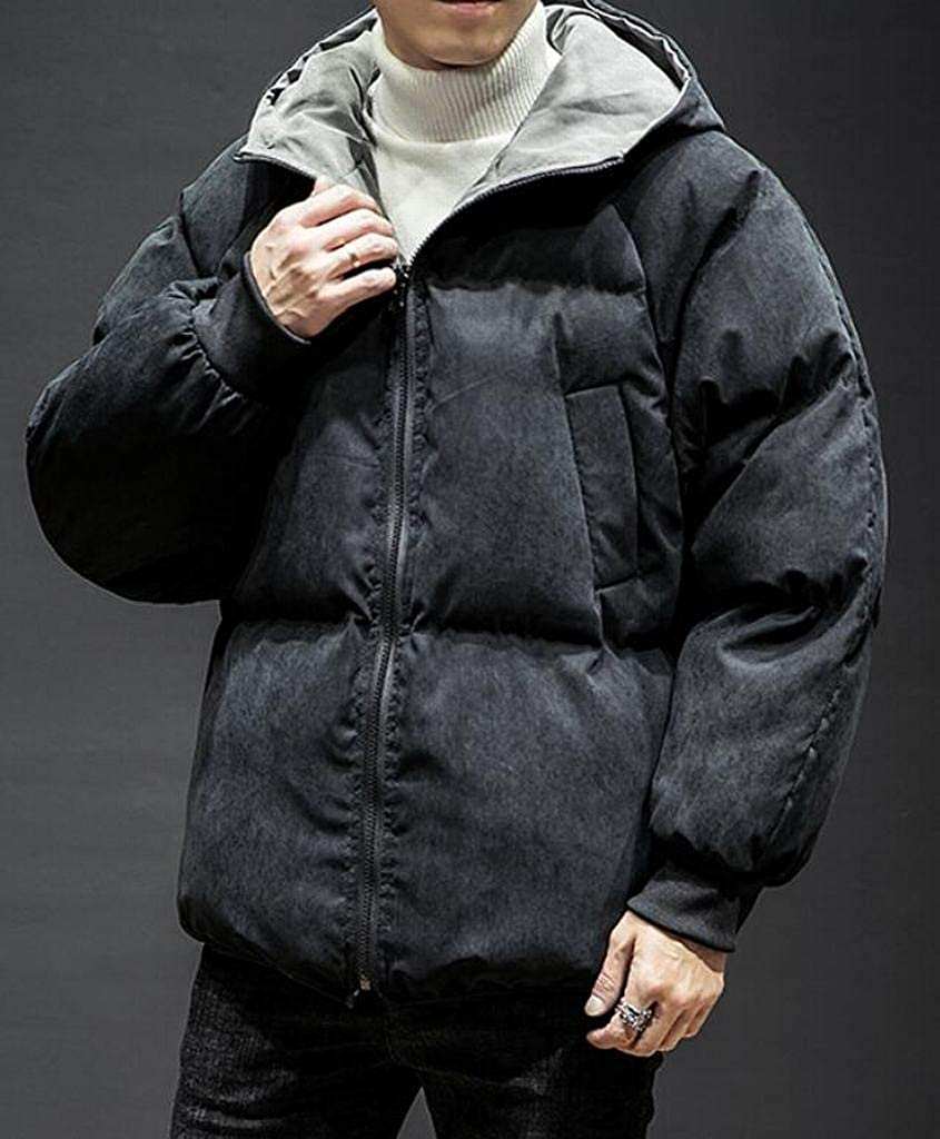 YYG Men Thicker Loose Fit Winter Reversible Embroidery Hoodie Down Coat Jacket Outerwear
