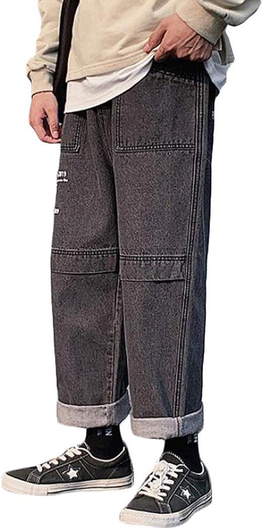 Gergeousデニムパンツ メンズ ゆったり ワイドパンツ デニム ポケット付き おしゃれ ジーンズ ストレート カジュアル ジーパン ストリート系 通学 秋 冬