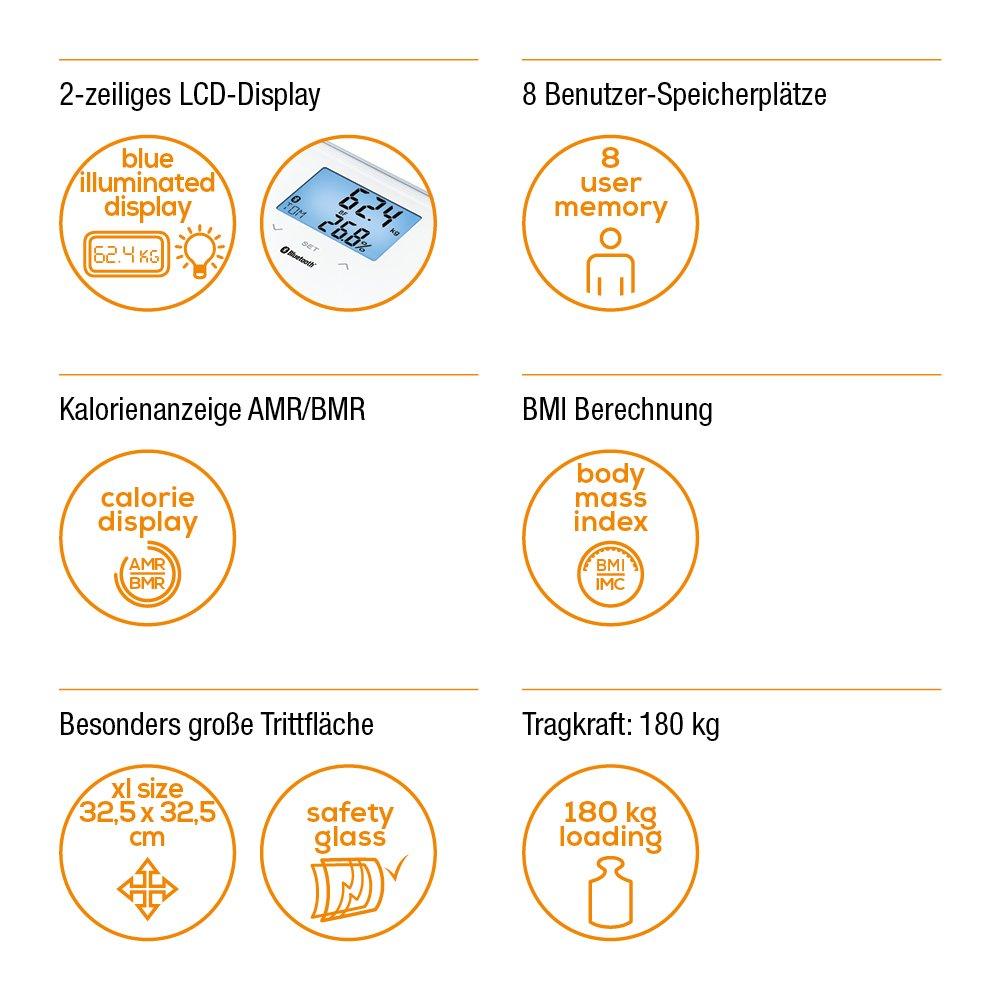 Beurer BF850 - Báscula de baño diagnóstica superficie con extragrande, conexión entre Smartphone y báscula, color blanco, 32.5 x 32.5 x 2.4 cm, ...