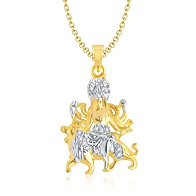 Buy amaal maa durga pendant with chain for men women gold plated in amaal maa durga pendant with chain for menwomen gold plated in american diamond cz mozeypictures Image collections
