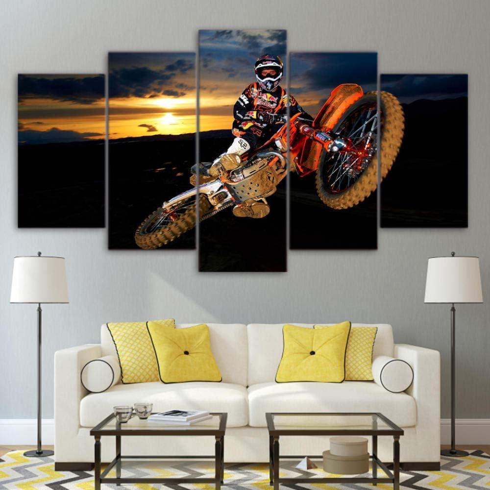 Hgjfg Cuadro Moderno En Lienzo 5 Piezas Xxl Mejor acci/ón motocross Hd Abstracta Pared Im/ágenes Modulares Sala De Estar Dormitorios Decoraci/ón Para El Hogar 150X80Cm