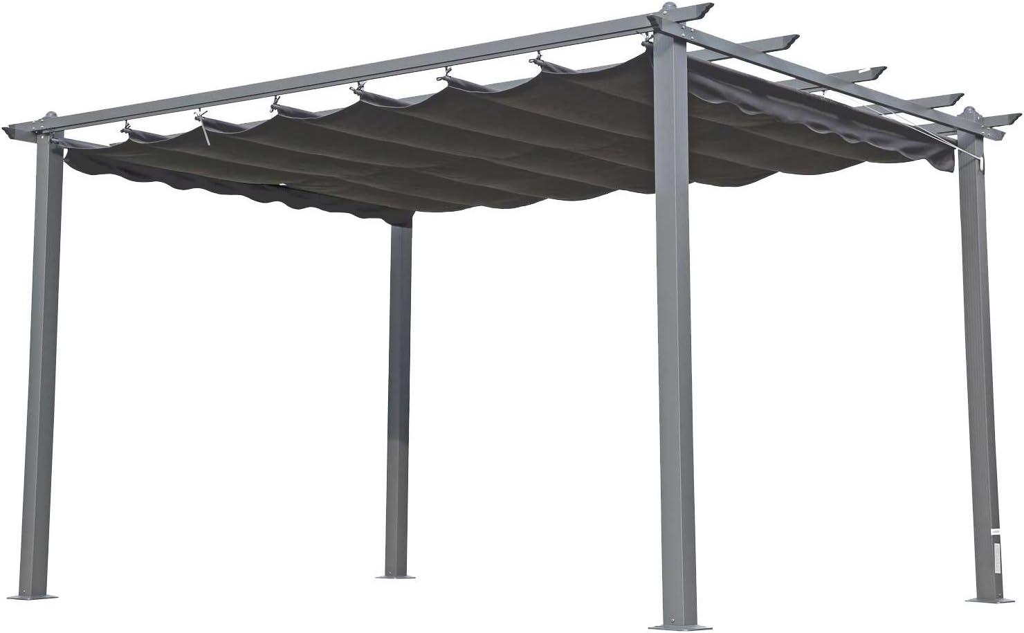 Outflexx Pergola, antracita, aluminio recubierto de polvo, Techo Antracita, 400 x 300 x 220 cm: Amazon.es: Jardín