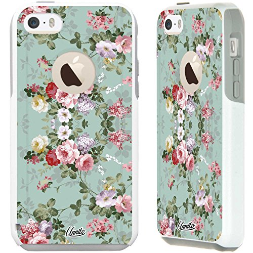 iPhone 5c Case White Vintage Sea Green Floral [Dual Layered Hybrid] Protective Commuter Case for iPhone 5c White Case by Unnito