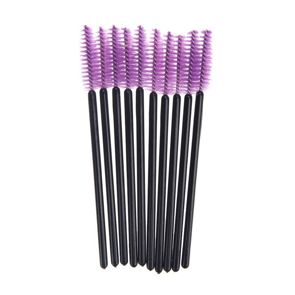 SODIAL(R) 100 Disposable Mini Eyelash Brush Mascara Wands Eyelash Makeup High Quality Purple 055312
