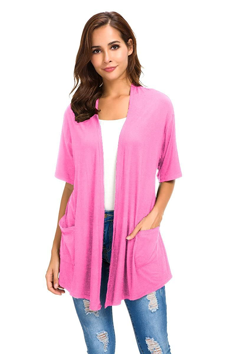 NB Womens Short Sleeve Open Front Lightweight Casual Comfy Long Line Drape Hem Soft Modal Cardigans Sweater with Two Pockets