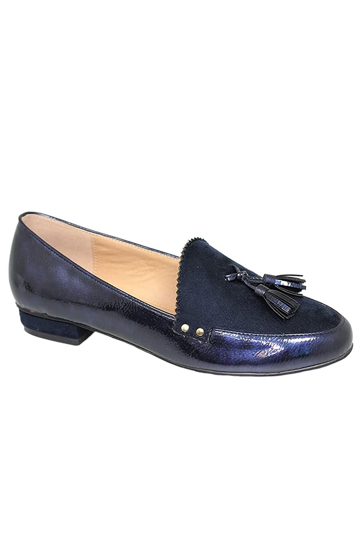 Saphir Boutique flc048 Swerve Druckknopf Kunstwildleder Leder Quaste Wellenschliff Slipper - Blau, 5 UK