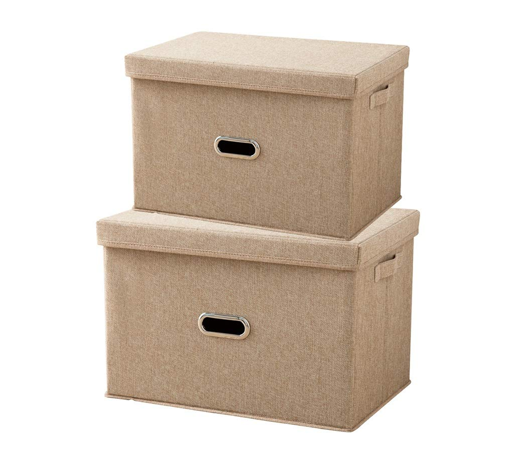 SCHUNlia 折りたたみ収納ボックス、リビングルーム綿とリネンスナック収納ボックスワードローブ衣類キルト収納ボックスデブリ仕上げボックスツーピース50-58CM 環境に優しくて丈夫 (色 : C) B07RZS6PTX C