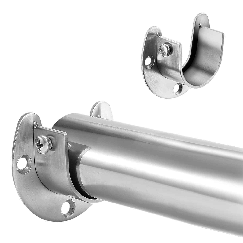 Hestya Stainless Steel Closet Pole Sockets Rod Socket Flange Set Rob  Support Flange Holder, U Shaped, Easy Installation Or Removal U003c Brackets U003c  Tools U0026 Home ...