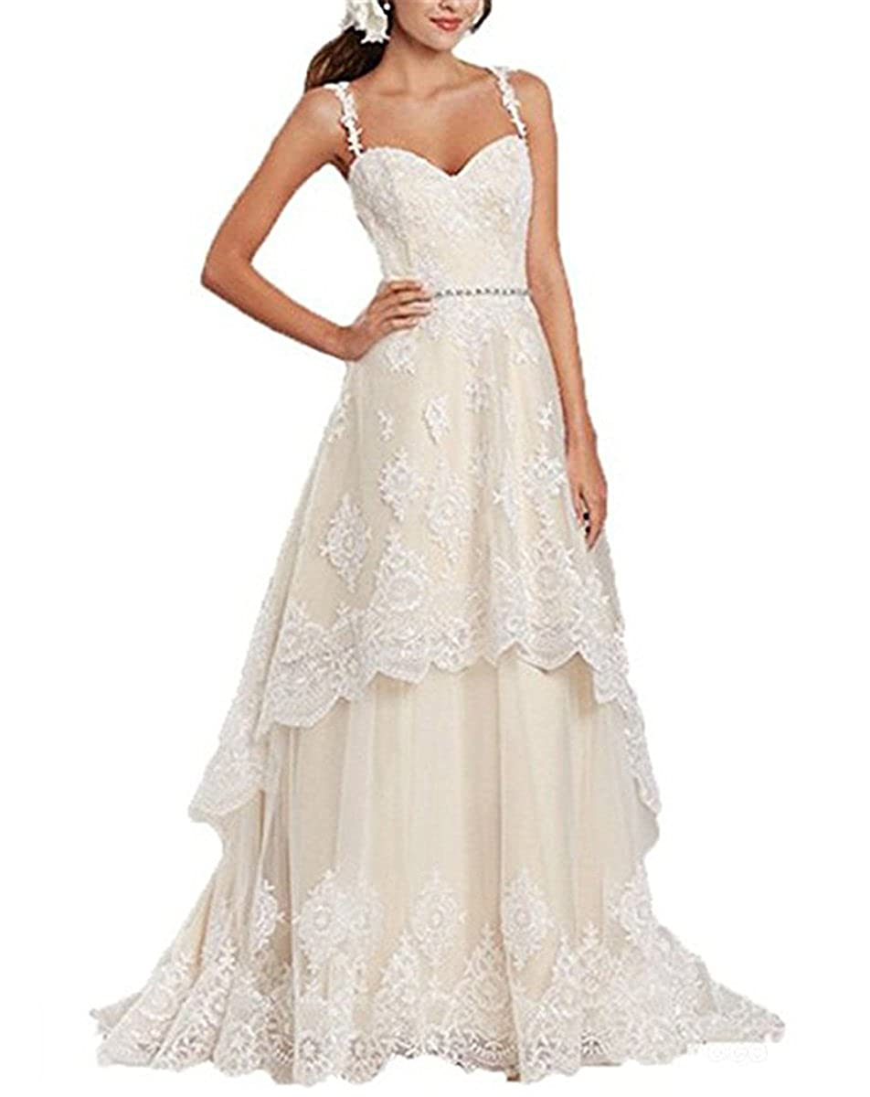 Vweil Rustic High Low Vestido De Novia Lace Wedding Dresses with Detachable Skirt VD23 at Amazon Womens Clothing store: