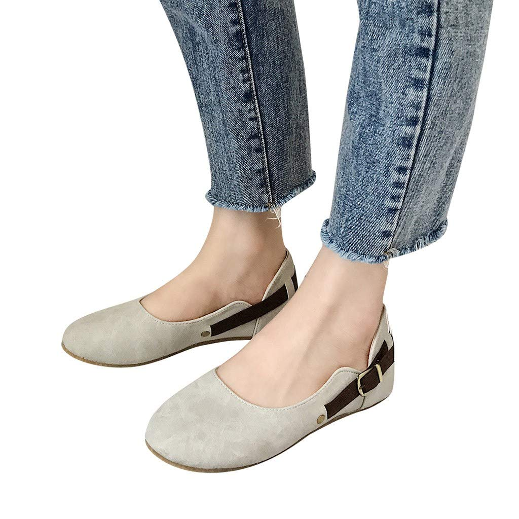 46f06fd1007 Amazon.com  Womens Belt Buckle Flat Shoes - Casual Slip-on Soft Sole Shoes  Round Toe Closed Toe Shallow Pumps Single Shoes 5-7  Clothing