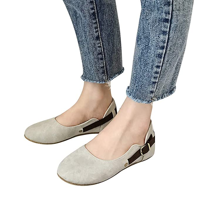Amazon.com | OrchidAmor New Women Belt Buckle Shallow Mouth Casual Shoes Suede Round Toe Flat Lazy Shoes | Shoes