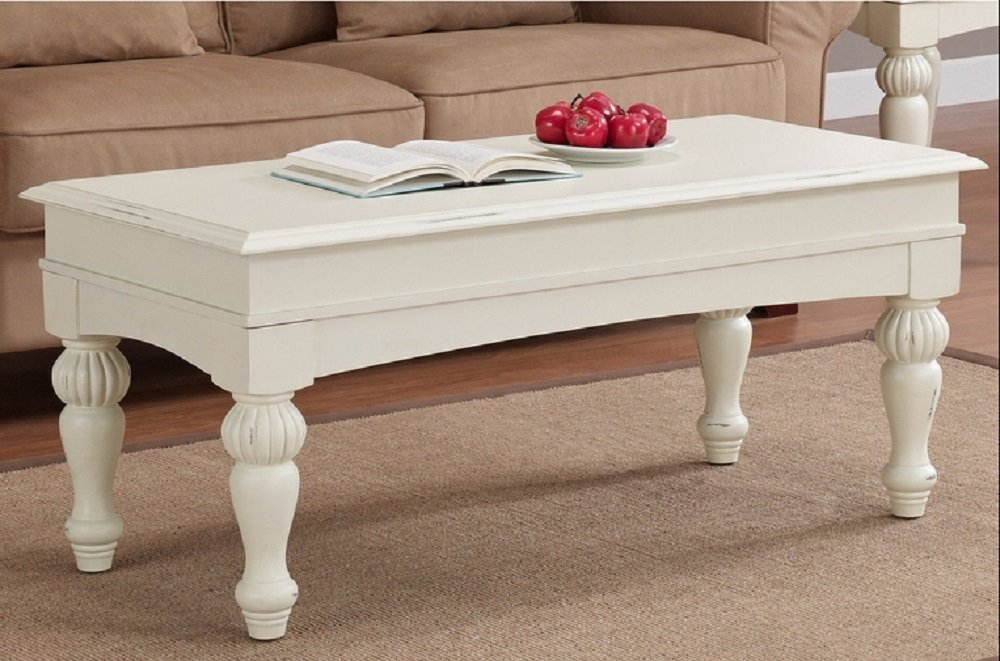 Amazon.com: Vanilla Wasatch Coffee Table Adds A Traditional Touch To Your  Home Decor. These Coffee Tables Feature A Distressed Vanilla White Finish  With ...