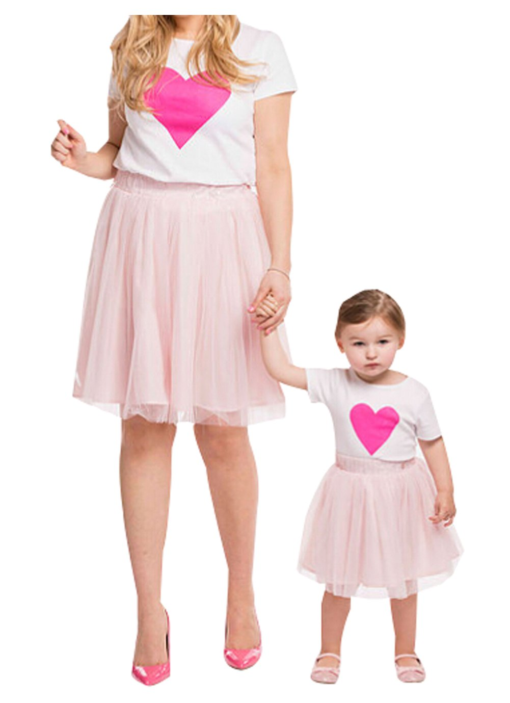 Family Matching Mother and Daughter Heart T-Shirts Tops Pink Skirt