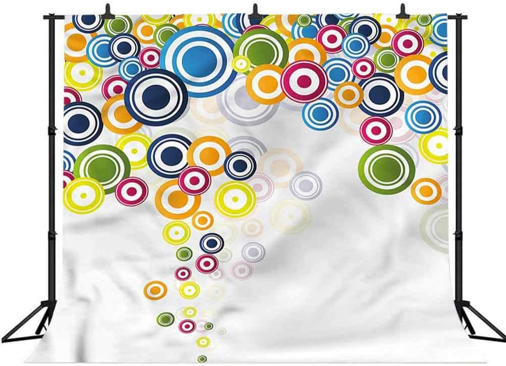5x5FT Vinyl Photo Backdrops,Colorful,Concentric Circles Pattern Photo Background for Photo Booth Studio Props