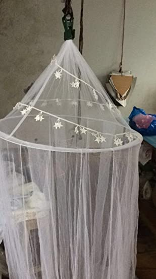 OctoRose DIY 3.75 yard Star Lace enclosed White Hoop Bed Canopy Mosquito  Net Fit Crib,