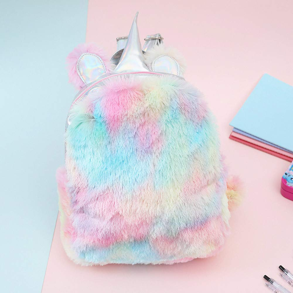 2019 New! Women Girls Plush Backpack Unicorn Bag Cute Campus Satchels Color Laser Rucksack Mini Bags Fashion Casual
