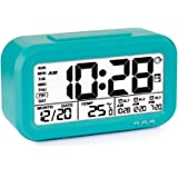 Tsumbay Digital Alarm Clock, USB Rechargeable 3 Separate Alarm Digital Clock Backlight Large Screen Display Temperature Calender Ideal for Home Office (Dark Blue)