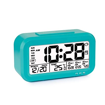 Reloj despertador con 3 alarmas, tsumbay Digital alarma reloj para niños, tiempo/fecha