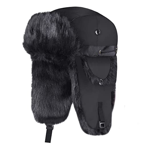 e311f3afeb2 Onway Winter Trapper Hat Unisex Aviator Bomber Hat with Warm Faux Fur and  Adjustable Ear Flaps