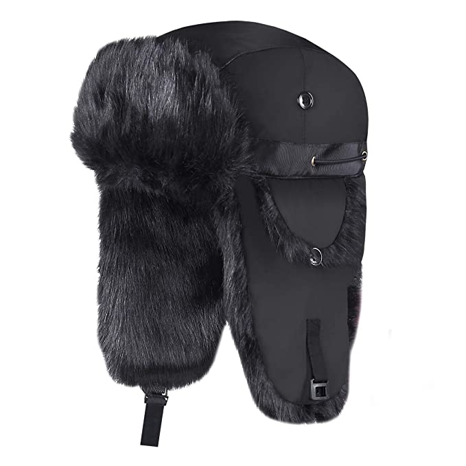 0acc9f540f8fe4 Onway Winter Trapper Hat Unisex Aviator Bomber Hat with Warm Faux Fur and  Adjustable Ear Flaps