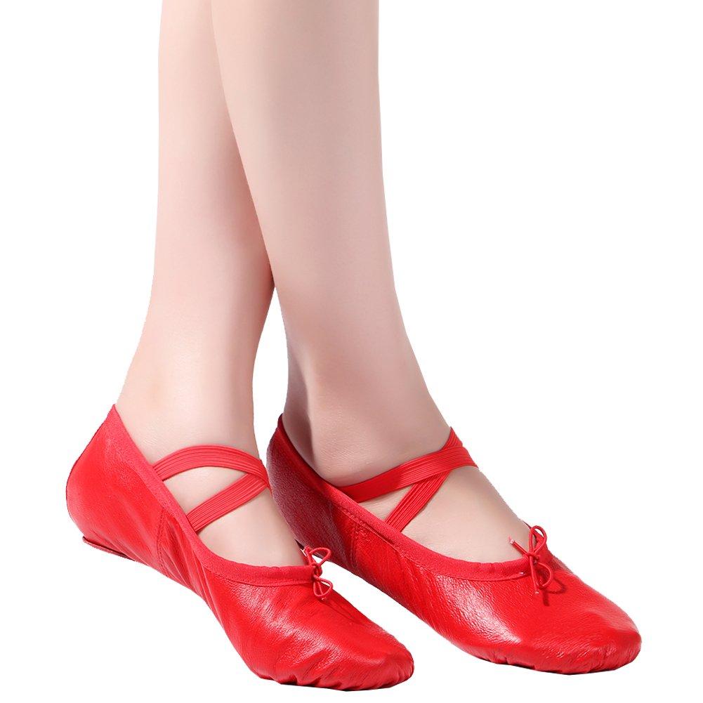 08cbfb39e7dd1 Dreamone Ballerina Chaussures de Ballet pour Enfant en Cuir avec Semelle en  Forme de Ballerine - Rouge - Rouge