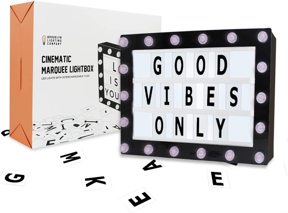 Marquee Light Box, Cinema Light Box, Cinematic Light Box, Letter Light Box With 200 Letters, 32 LED Lights, 18 LEDs on Marquee, USB Cable, Size 16.5 x 11.8 x 2