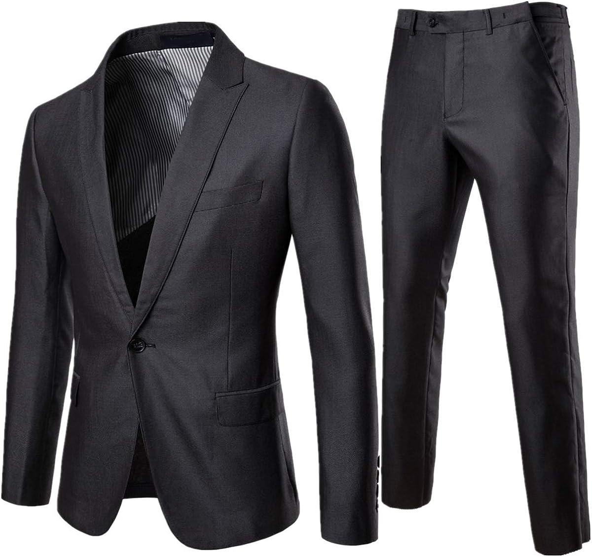 AOWOFS Herren Slim Fit Anzug 2 Teilig B/ügelfrei Herrenanzug Business Hochzeit Sakko Anzughose