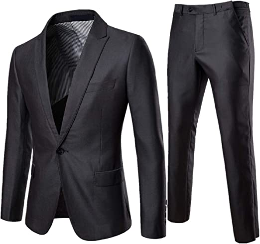 2 Pcs Men/'s Suit Coat Pants Casual Slim Fit Formal One Button Blazer Jacket Tops