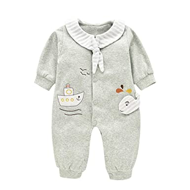 e52da9668 Amazon.com  Mornyray Baby Boy Girl Cotton Jumpsuit Pajamas Infant ...