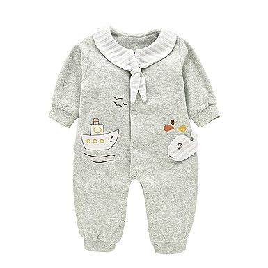 33e99d6c7 Amazon.com  Mornyray Baby Boy Girl Cotton Jumpsuit Pajamas Infant ...