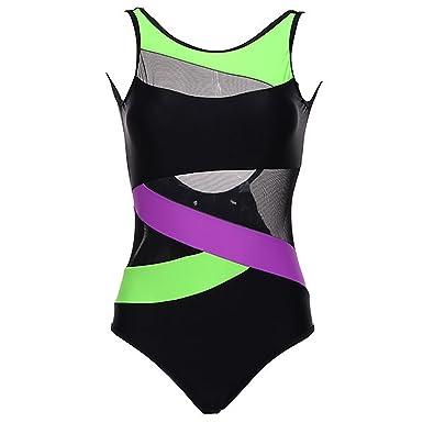 8e0e1c62b43 Women's Swimsuit U-Shaped Back Soft Cup Mesh Solid Patchwork Stripe One  Piece Swimwear at Amazon Women's Clothing store: