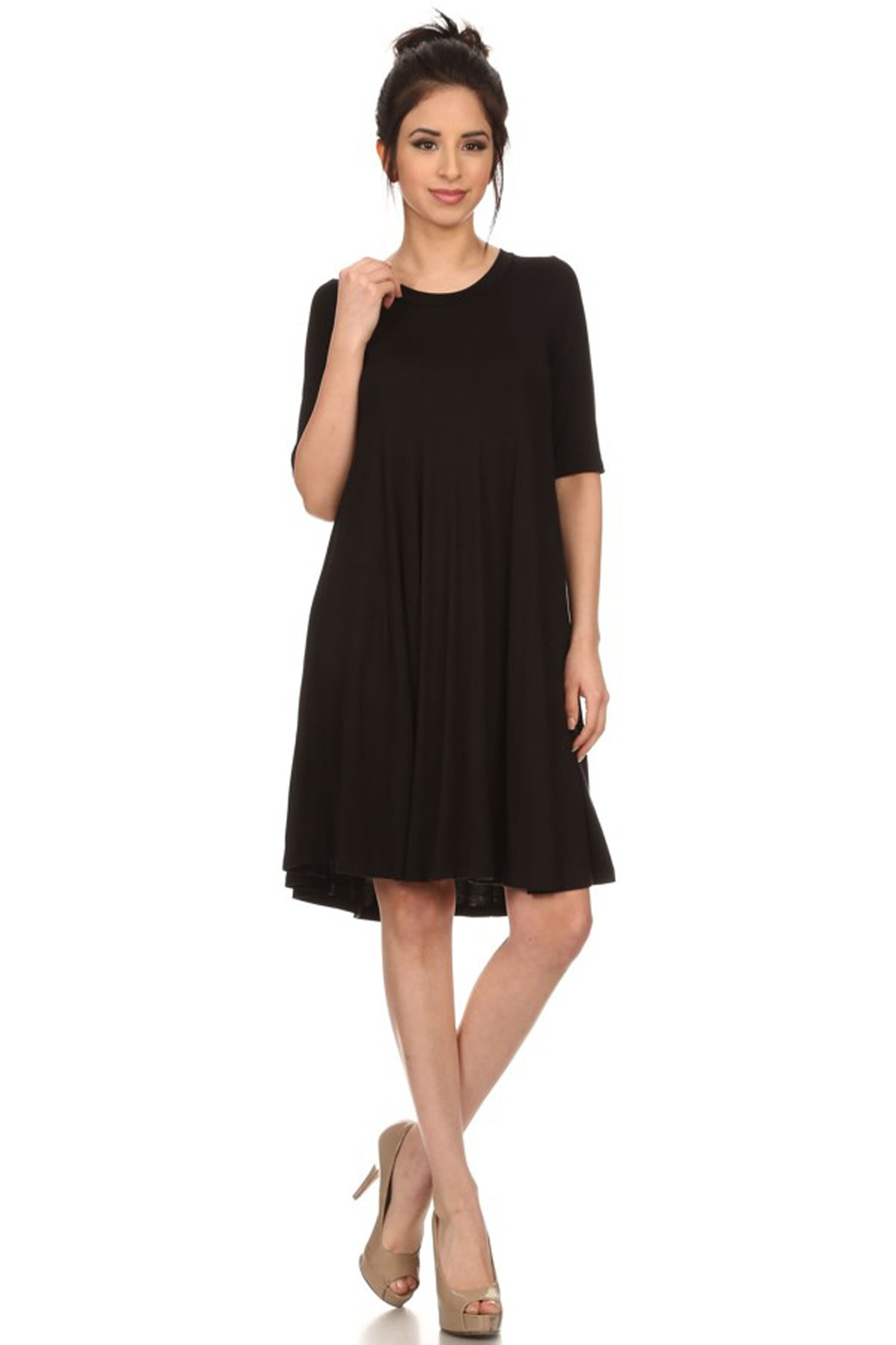 Casual half Sleeve Loose Fit T-Shirt Solid Dress/Made in USA Black XL