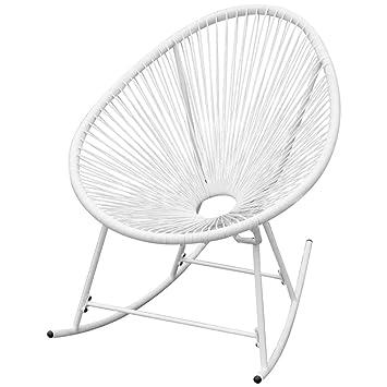 vidaXL Garden Rocking Chair Wood White Outdoor Patio Sun Lounger Armchair Seat