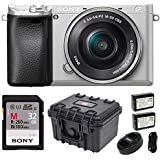 Sony Alpha a6300 Mirrorless w/ 3 LCD, SIlver (ILCE6300L/S) 32GB Bundle
