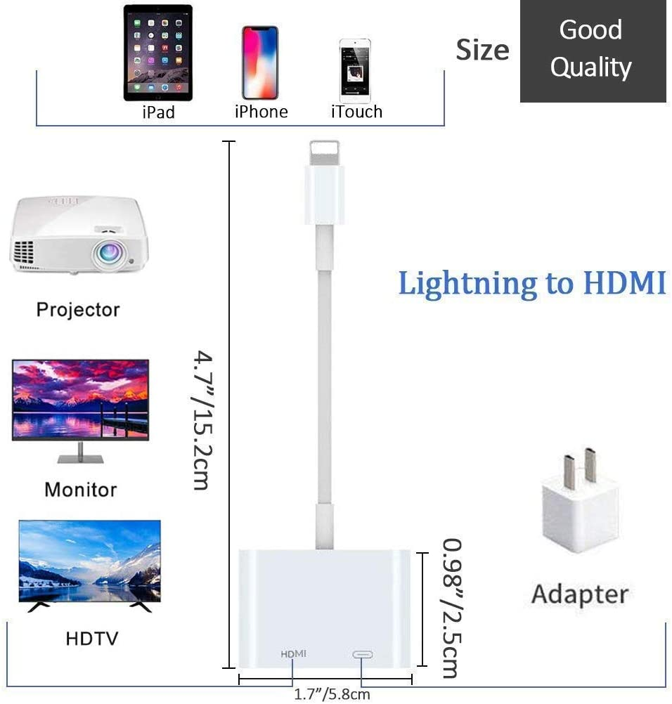 iPod on HDTV//Monitor//Projector iPad 1080P Sync Screen Converter with Charging Port for iPhone Plug and Play Lightning to Digital Audio /& 4K Video Adapter Apple MFi Certified Lightning to HDMI