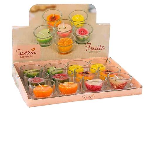Lote de 12 Decorativas Velas de Frutas en Vasos de Cristal ...