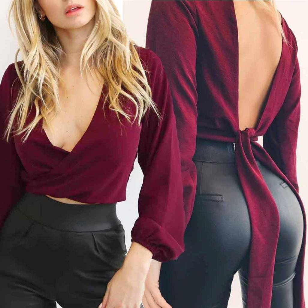Gotd Women Solid Sexy Long Sleeve Deep V-neck Tunic Tops Blouse Shirt Work (S, Wine)