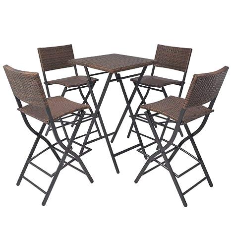 Xinglieu Juego de Mesa sillas de jardín 5 Unidades polirratán ...