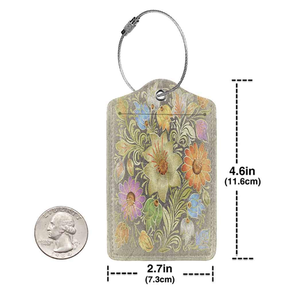 Printed luggage tag Grunge Home Decor Ornate Aged Floral Bouquet Composition Over Antique Style Marble Setting Boho Decor Protect personal privacy Multi W2.7 x L4.6