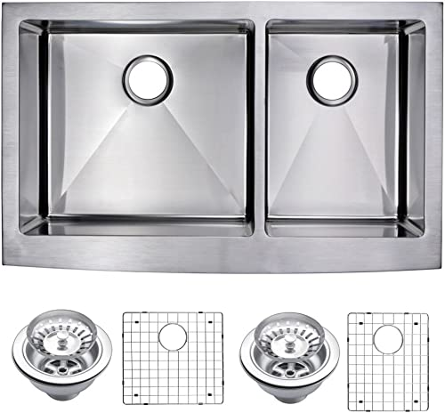 Water Creation SSSG-AD-3622C 36 X 22 15 mm Corner Radius 60 40 Double Bowl Stainless Steel Apron Front Kitchen Sink with Drain and Strainer